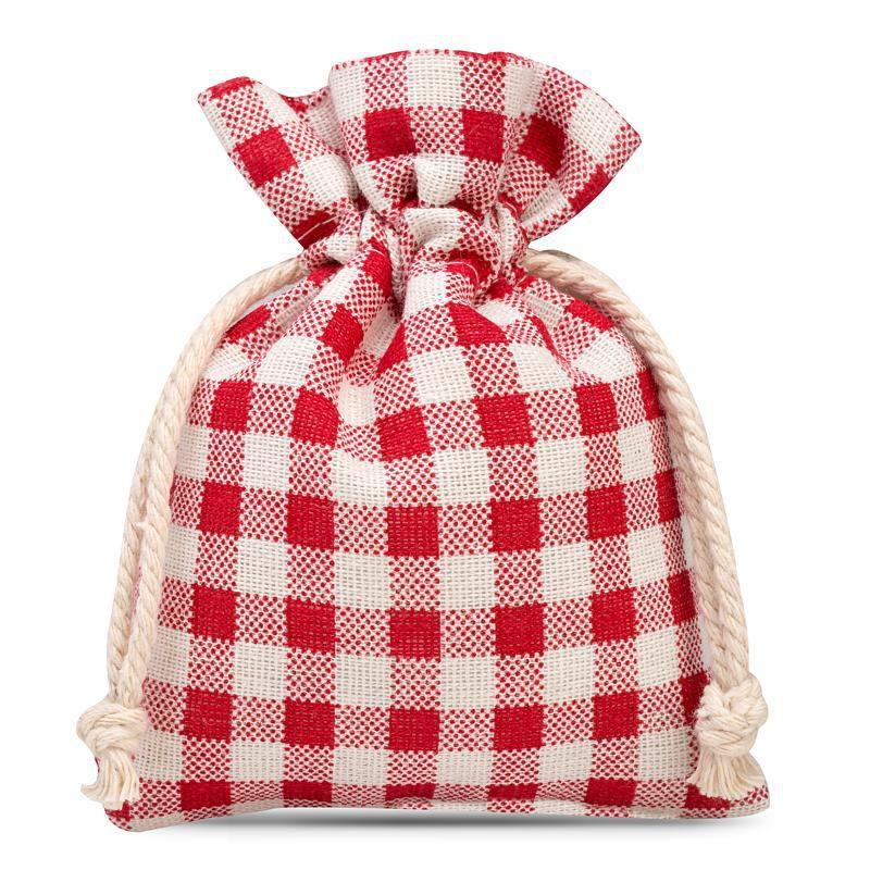 3 uds Bolsa de lino con la impresión 12 x 15 cm - natural / enrejado rojo