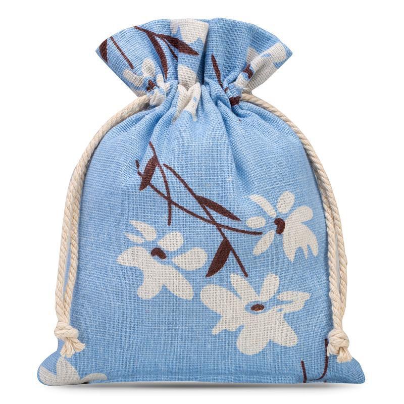 1 uds Bolsa de lino con la impresión 15 x 20 cm - natural / flores azules