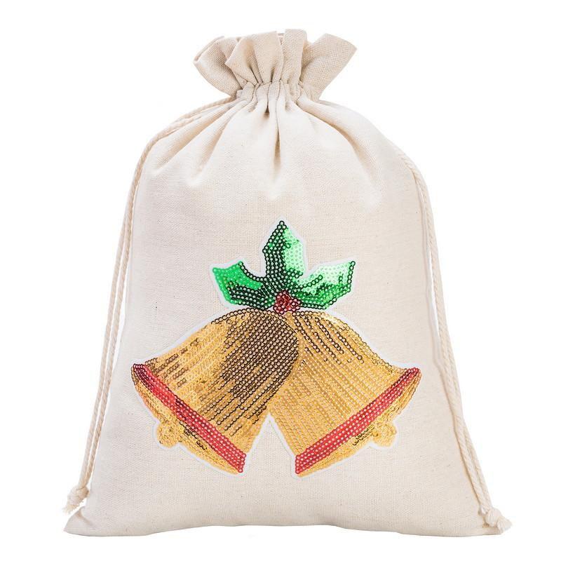 1 uds. Bolsa de lino 26 x 35 cm - Navidad, Campanas