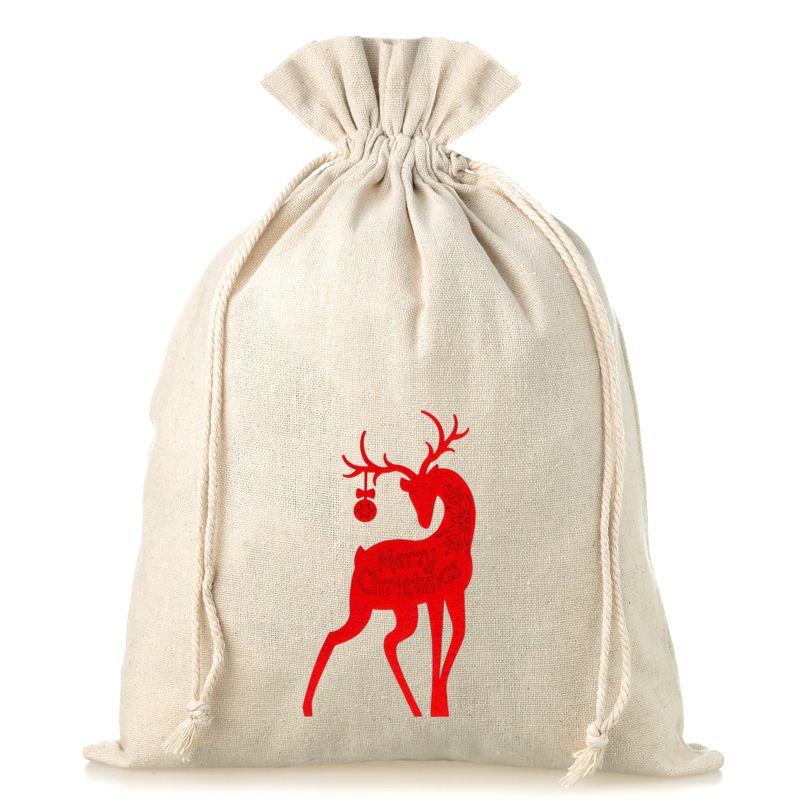1 uds. Bolsa de lino 30 x 40 cm - Navidad - Ciervo