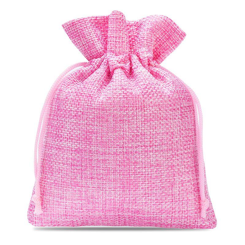 10 uds. Bolsas de yute 12 x 15 cm - rosa claro