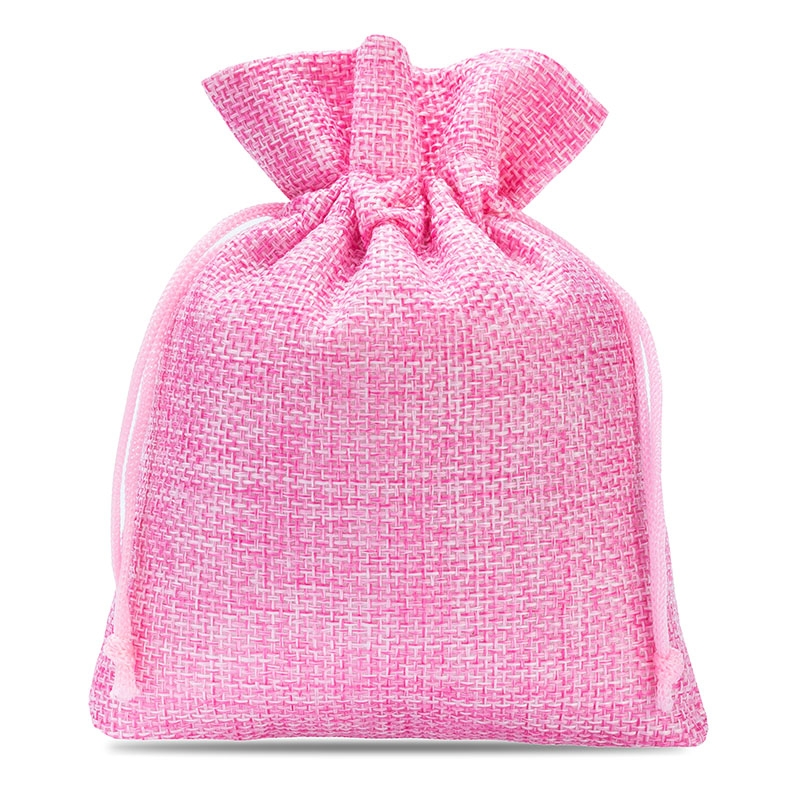 10 uds. Bolsas de yute 12 x 15 cm - rosa claro bolsa de yute