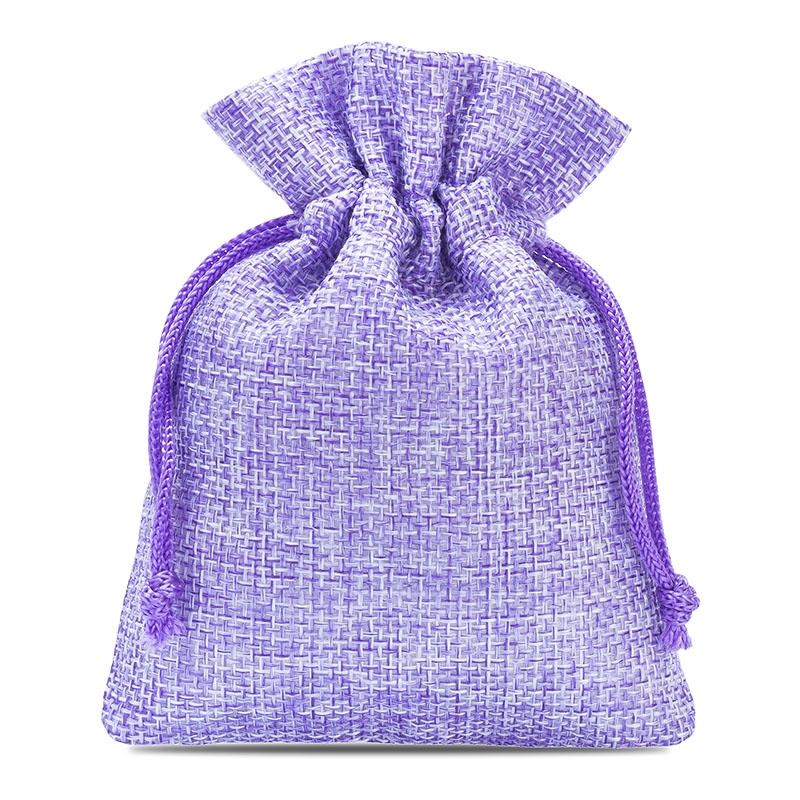 10 uds. Bolsas de yute 8 x 10 cm - violeta claro