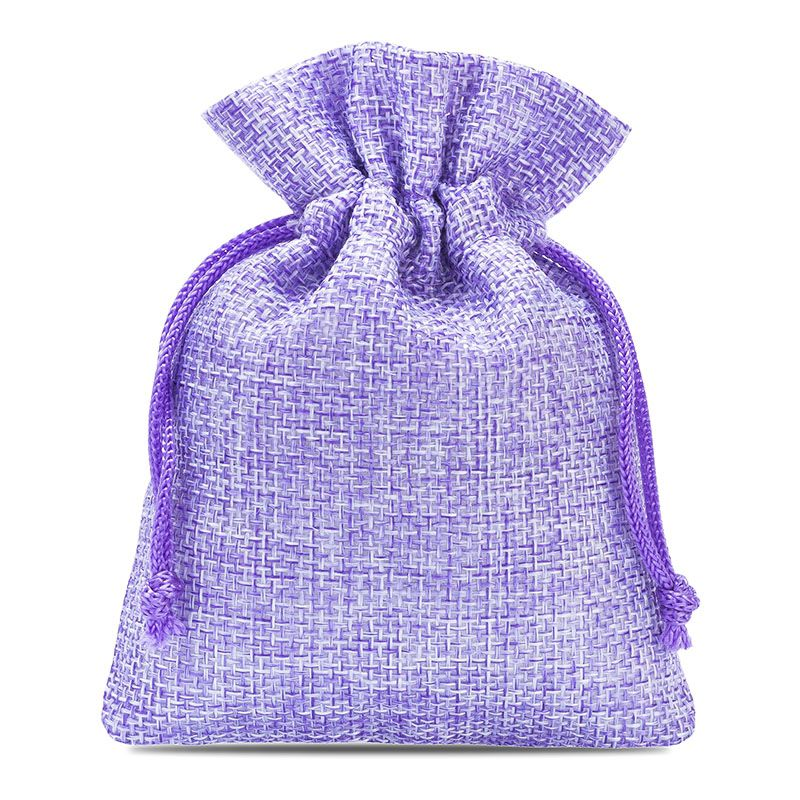10 uds. Bolsas de yute 9 x 12 cm - violeta claro