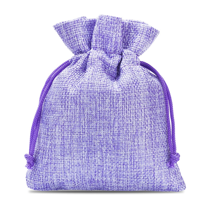 10 uds. Bolsas de yute 12 x 15 cm - violeta claro