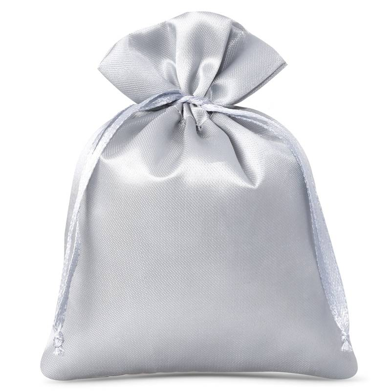 10 uds. Bolsas de satén 6 x 8 cm - gris plata