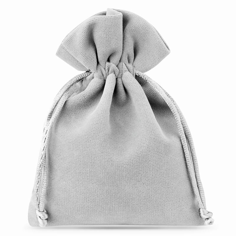 10 uds. Bolsas de terciopelo 6 x 8 cm - gris plata