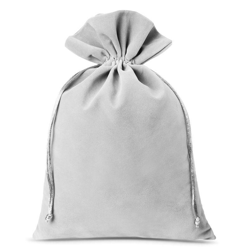 3 uds. Bolsas de terciopelo 26 x 35 cm - gris plata