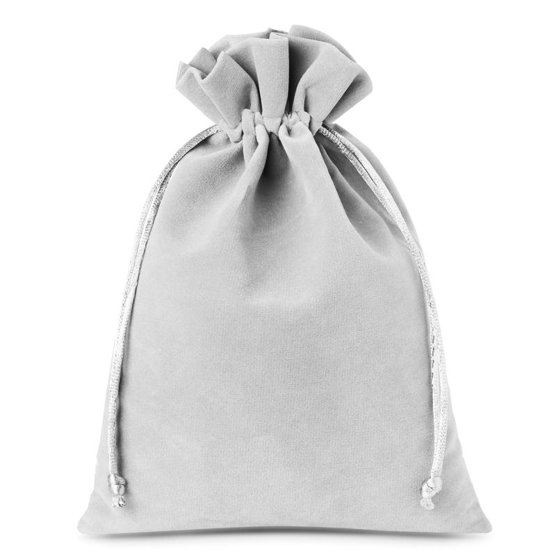 10 uds. Bolsas de terciopelo 12 x 15 cm - gris plata