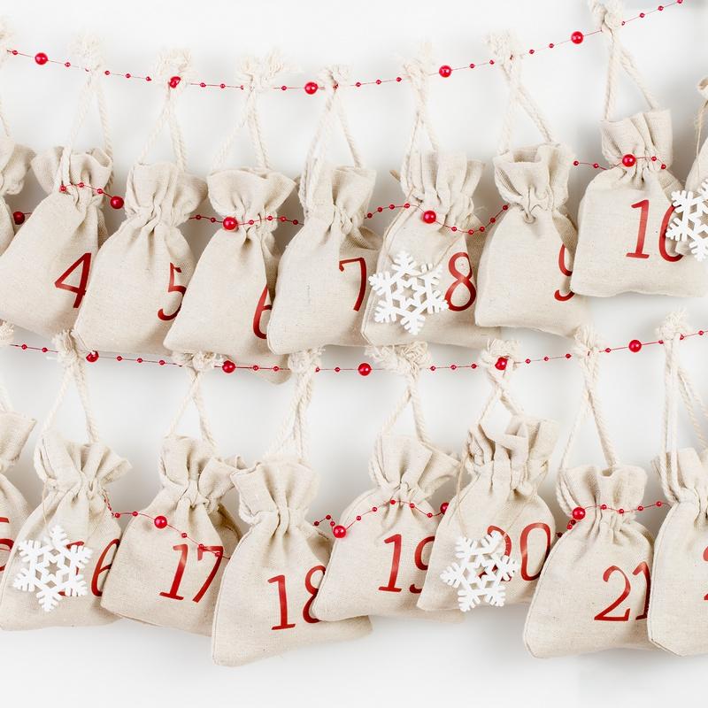 Calendario de adviento, 24 uds. Bolsas de lino 10 x 13 cm - natural
