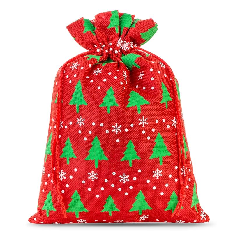 1 uds. Bolsa de yute 26 x 35 cm -  rojo / árbol de Navidad