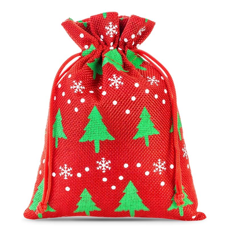 10 uds Bolsas de yute 12 x 15 cm - rojo / árbol de Navidad