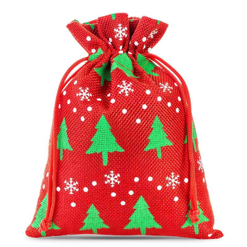 3 uds. Bolsas de yute 22 x 30 cm - rojo / árbol de Navidad
