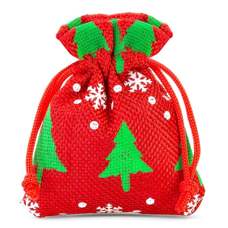 10 uds Bolsas de yute 8 x 10 cm - rojo / árbol de Navidad