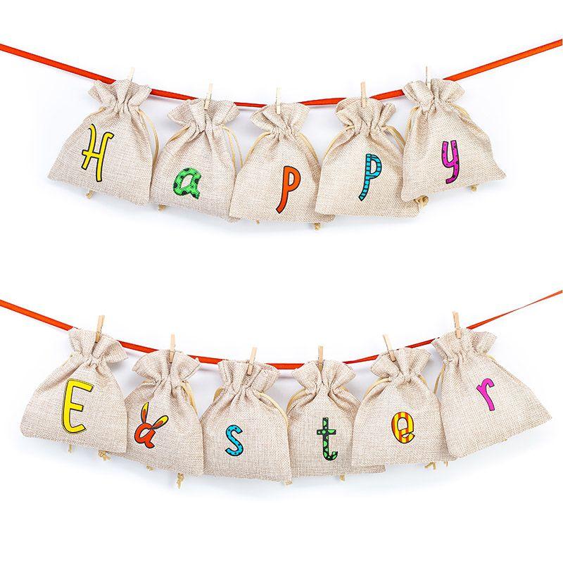 10 uds. Bolsas de yute 12 x 15 cm - natural claro San valentín