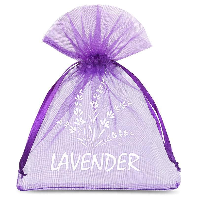10 uds. Bolsas de organza 9 x 12 cm - violeta oscuro con impresión (lavanda) - 2