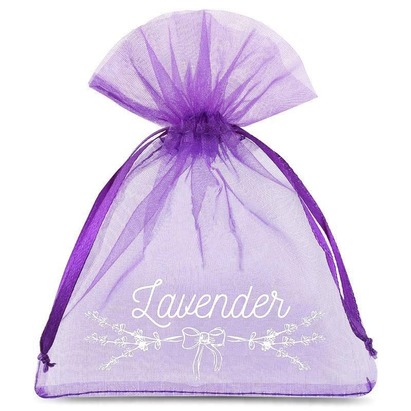 10 uds. Bolsas de organza 9 x 12 cm - violeta oscuro con impresión (lavanda) - 3