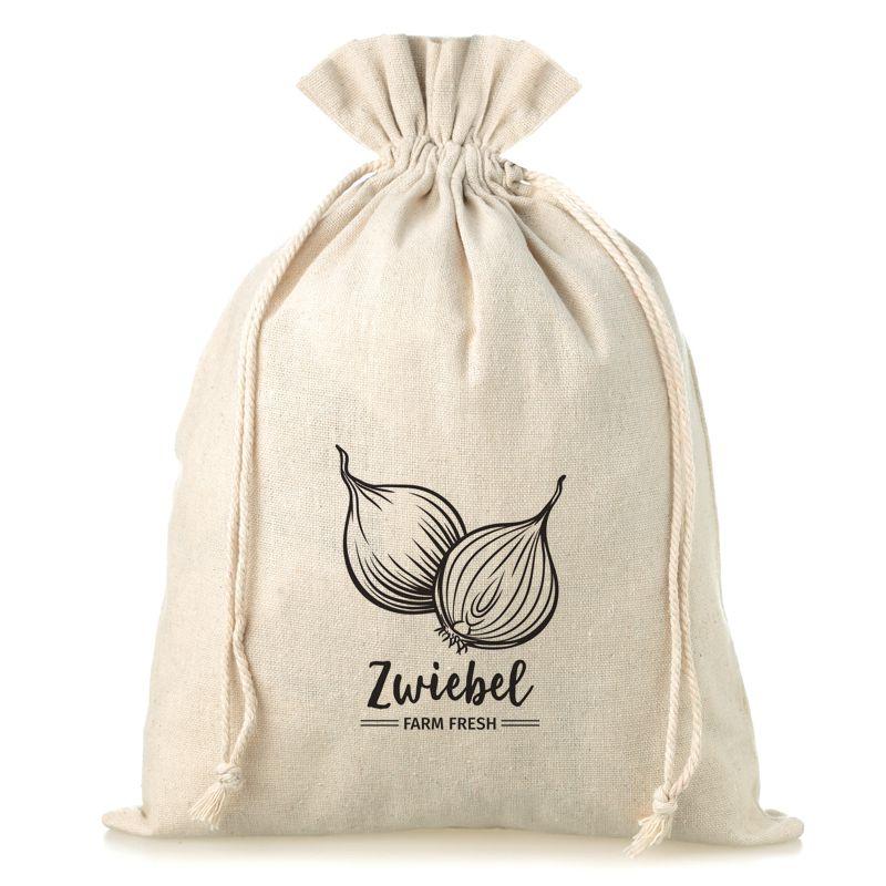 1 uds. Bolsa grande de lino con la impresión 30 x 40 cm - para cebollas (DE)