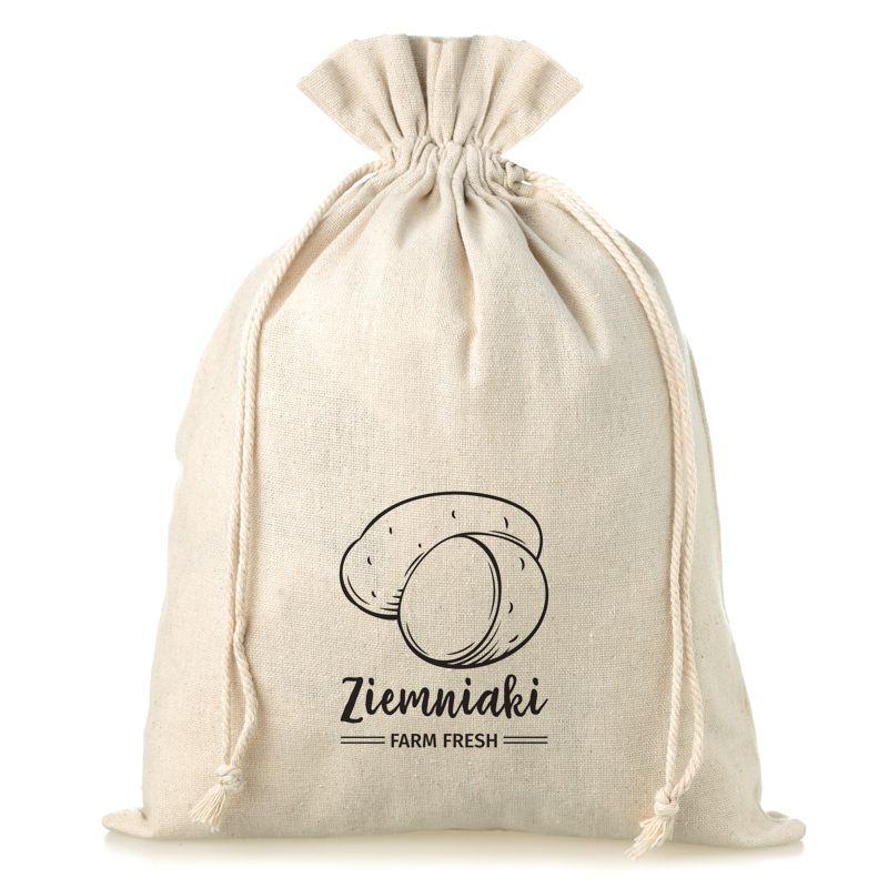 1 uds. Bolsa grande de lino con la impresión 35 x 50 cm - para papas (PL)