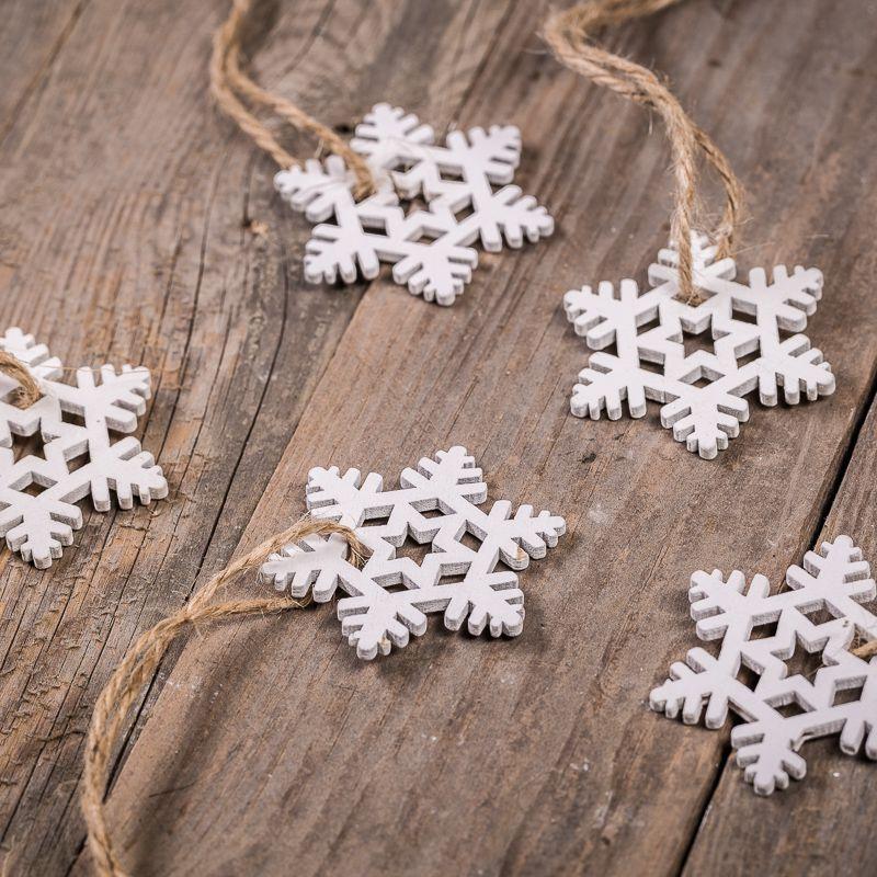 5 Uds. Estrellas de madera 4,5 x 5,5 cm - color blanco