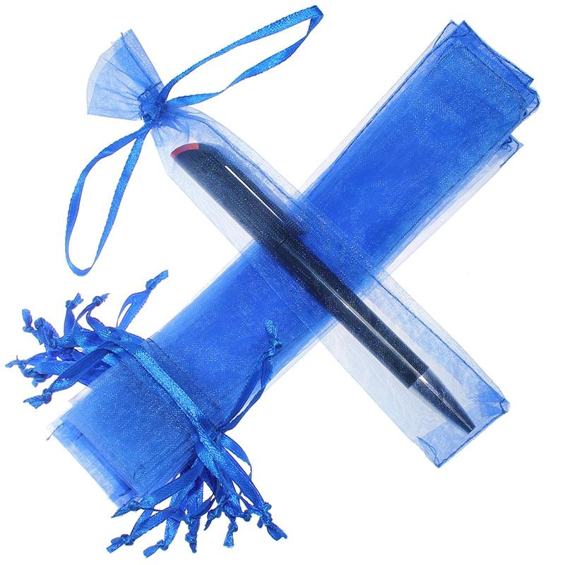 25 uds. Bolsas de organza 3,5 x 19 cm - azul