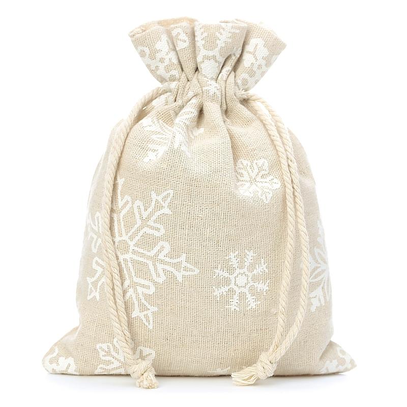 10 uds. Bolsas de lino con la impresión 15 x 20 cm - natural / nieve