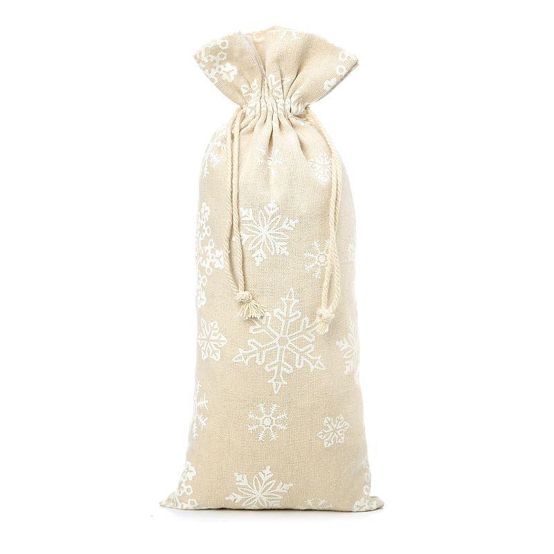 1 uds. Bolsa de lino con la impresión 16 x 37 cm - natural / nieve
