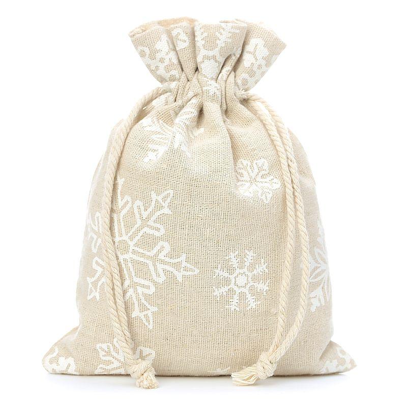 3 uds. Bolsas de lino con la impresión 22 x 30 cm - natural / nieve