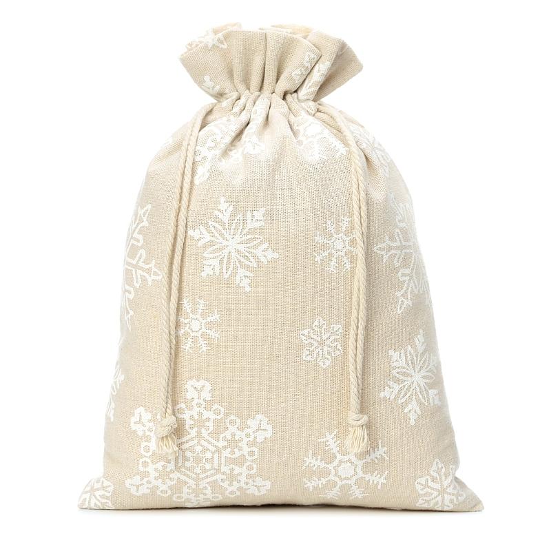 1 uds. Bolsa de lino con la impresión 26 x 35 cm - natural / nieve