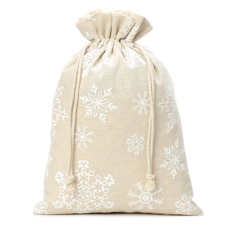 1 uds. Bolsa de lino con la impresión 30 x 40 cm - natural / nieve