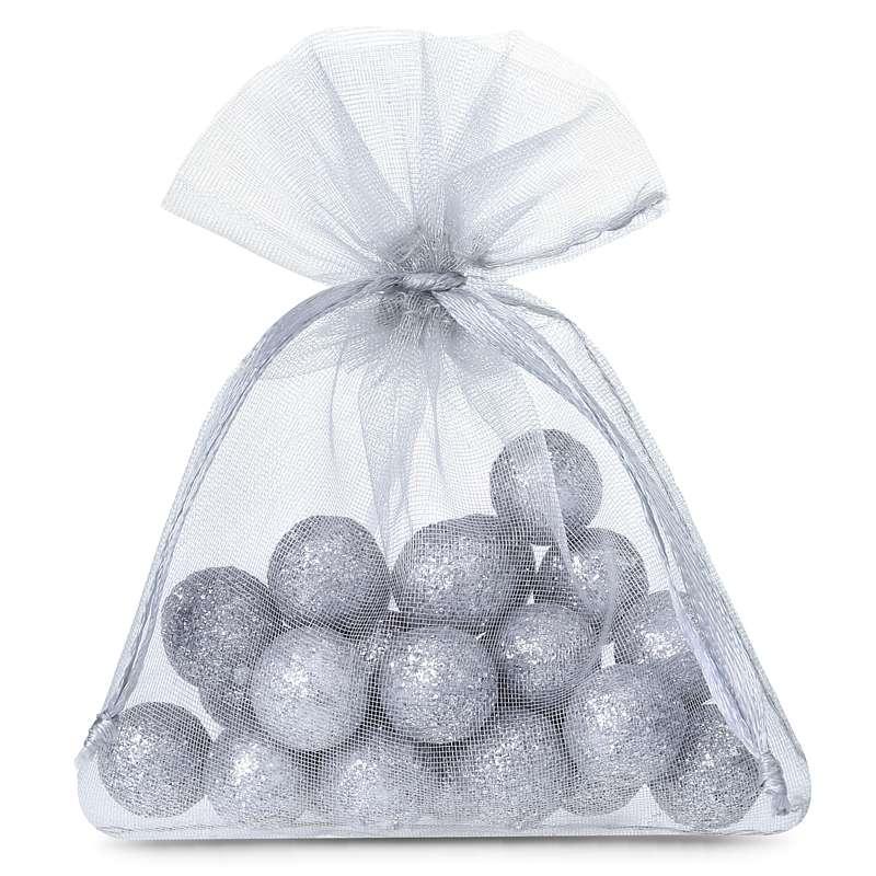 25 uds. Bolsas de organza 9 x 12 cm - gris plata Decorativo Bolsas de organza