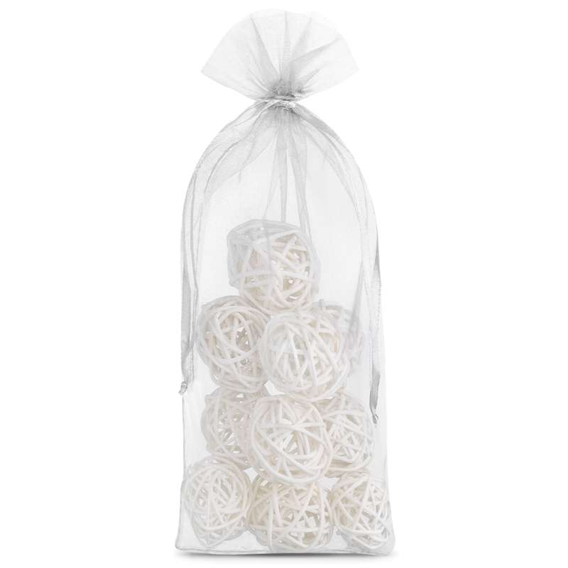 10 uds. Bolsas de organza 13 x 27 cm - blanco Decorativo Bolsas de organza
