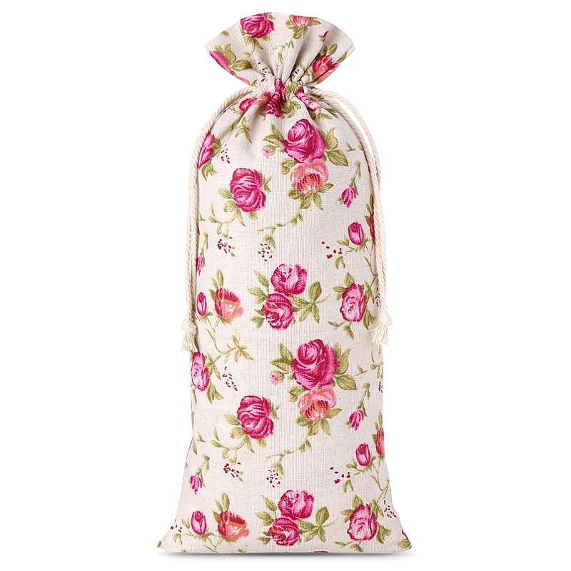 10 uds. Bolsas de lino con la impresión 16 x 37 cm - natural / rosas