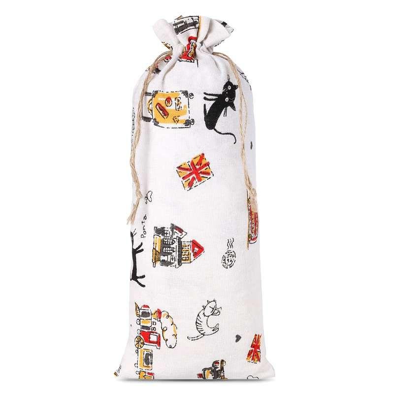 1 uds. Bolsa de lino con la impresión 16 x 37 cm - natural / gato