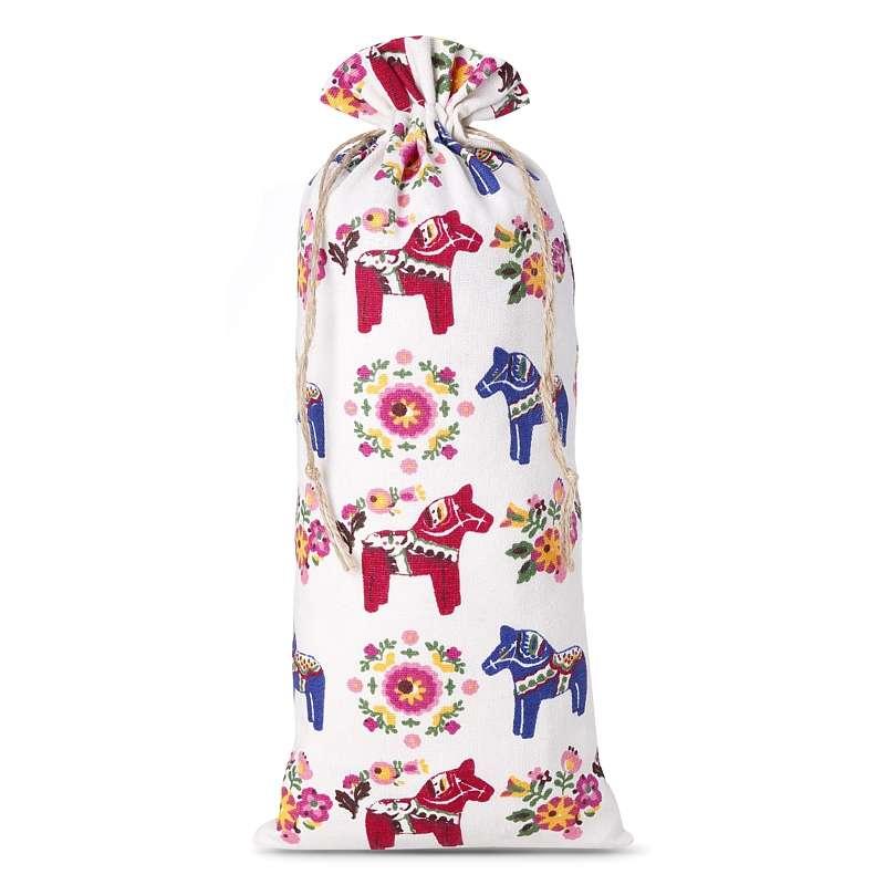 1 uds. Bolsa de lino con la impresión 16 x 37 cm - natural / caballo