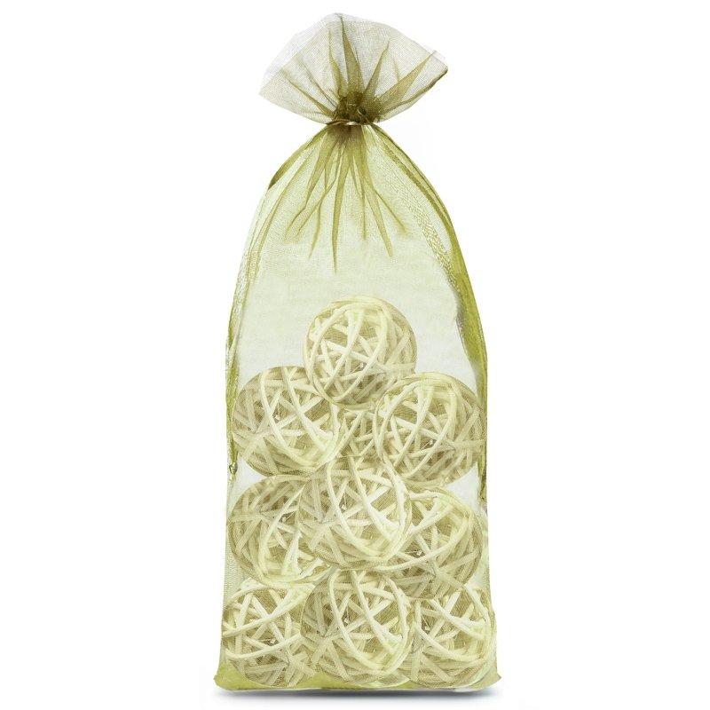 10 uds. Bolsas de organza 15 x 33 cm - verde oliva