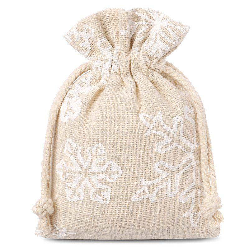 10 uds. Bolsas de lino con la impresión 9 x 12 cm - natural / nieve