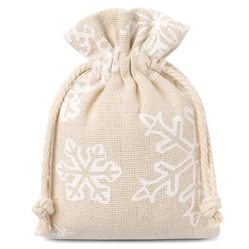 10 uds. Bolsas de lino con la impresión 8 x 10 cm - natural / nieve