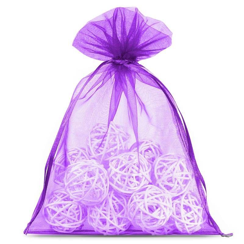 10 uds. Bolsas de organza 15 x 20 cm - violeta oscuro