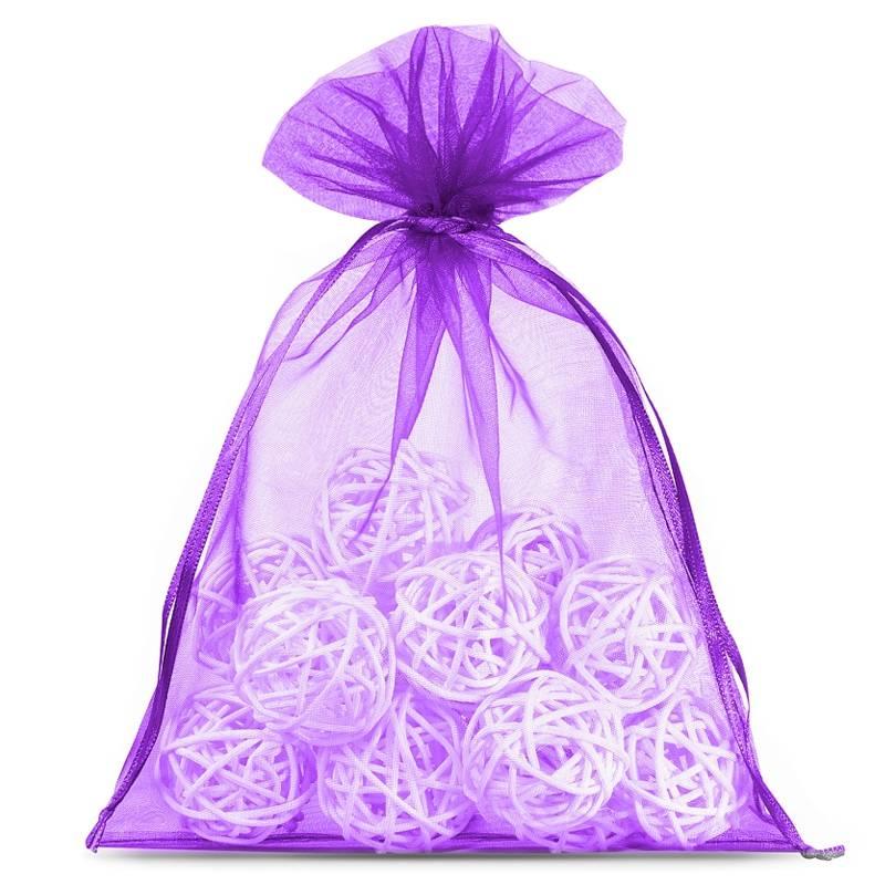 10 uds. Bolsas de organza 15 x 20 cm - violeta oscuro Decorativo Bolsas de organza