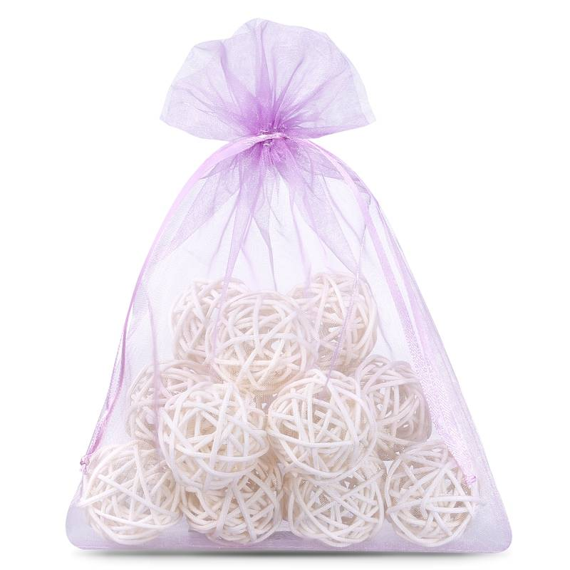 Organza bags 12 x 15 cm (25 pcs) - light purple Decorativo Bolsas de organza