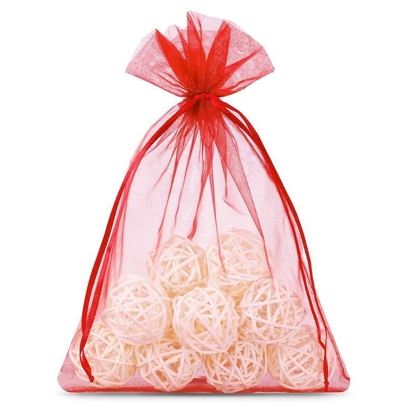 Organza bags 12 x 15 cm (25 pcs) - red Decorativo Bolsas de organza