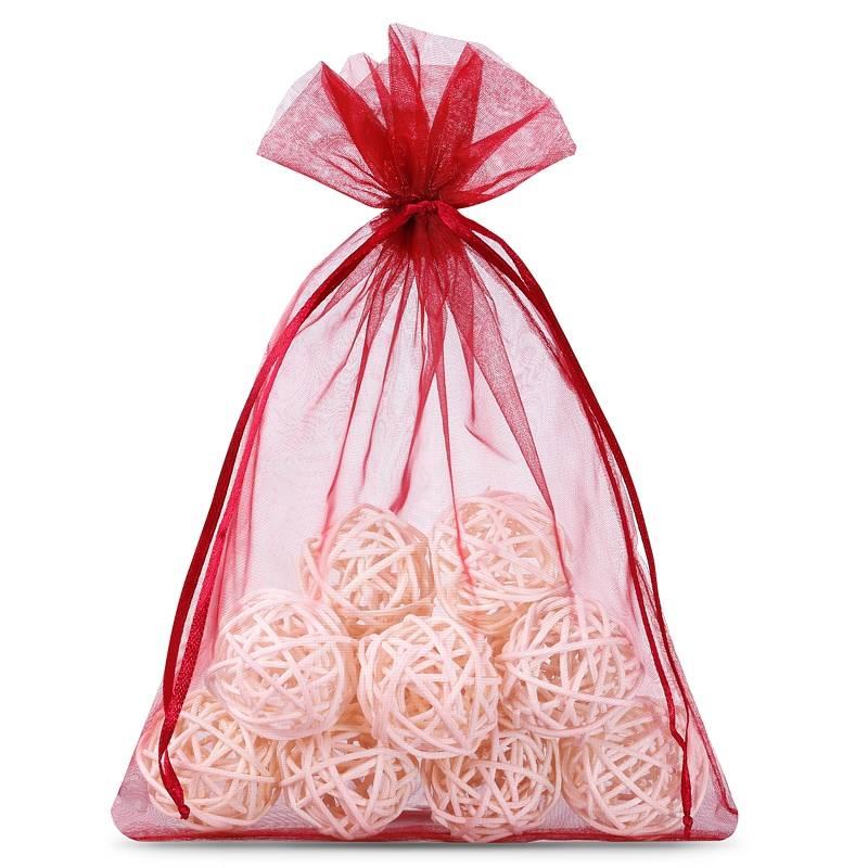 Organza bags 12 x 15 cm (25 pcs) - burgundy Decorativo Bolsas de organza