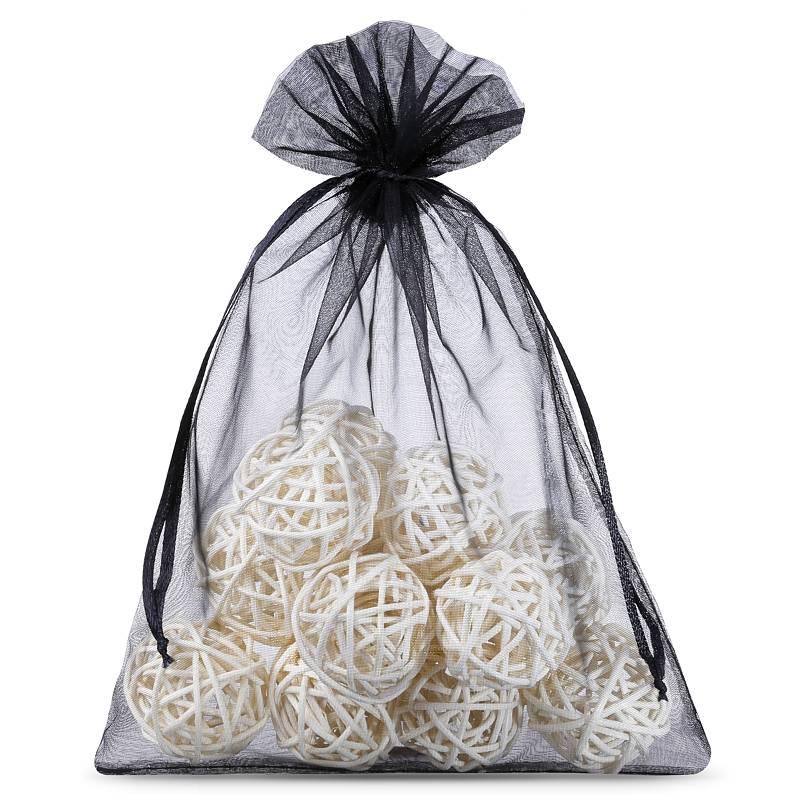 Organza bags 12 x 15 cm (25 pcs) - black Decorativo Bolsas de organza