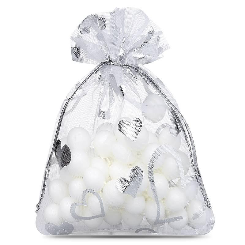 25 uds. Bolsas de organza 7 x 9 cm - blanco con la impresión - corazón
