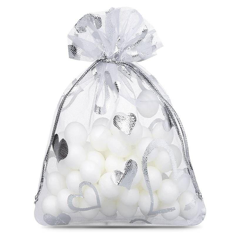 25 uds. Bolsas de organza 9 x 12 cm - blanco con la impresión - corazón