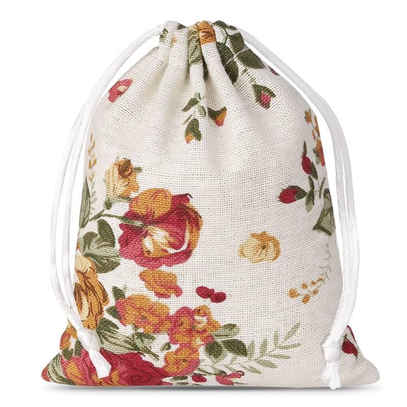 1 uds. Bolsa de lino con la impresión 10 x 12 cm - natural / rosas