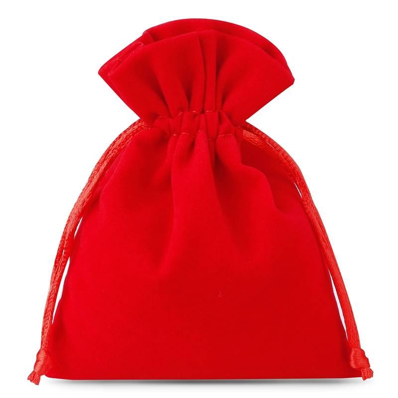 10 uds. Bolsas de terciopelo 8 x 10 cm - rojo