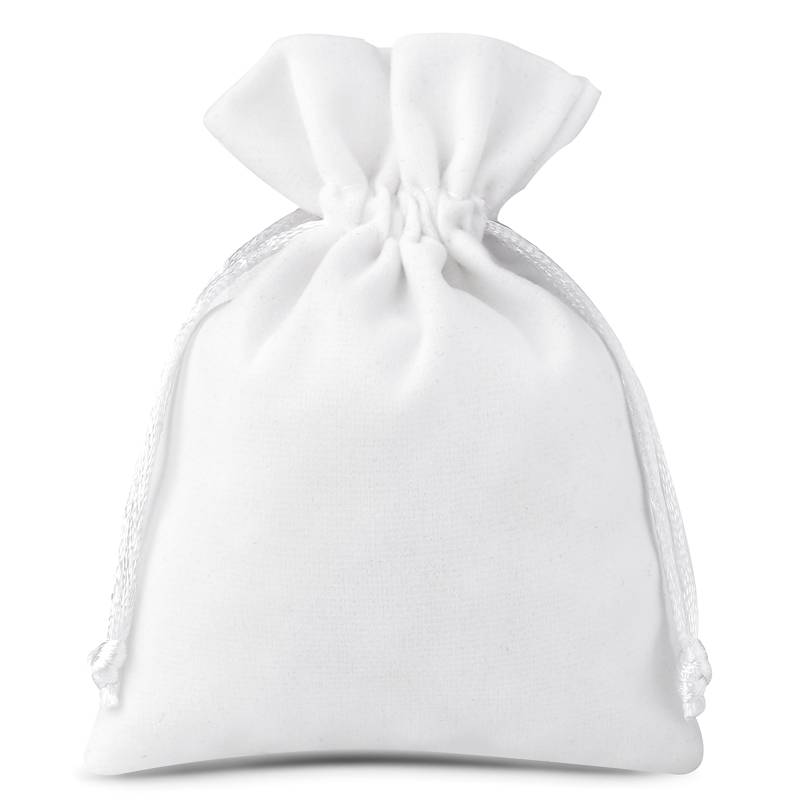 10 uds. Bolsas de terciopelo 10 x 13 cm - blanco