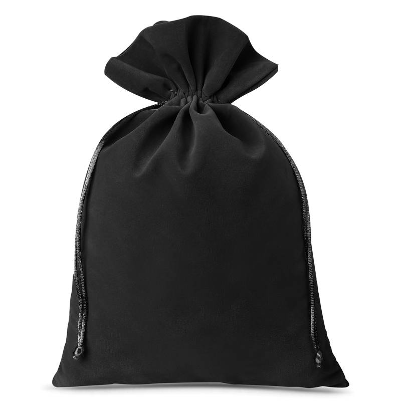 Woreczki welurowe 26 x 35 cm (3 szt.) - czarne Bolsas de terciopelo